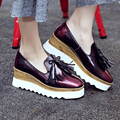 Women's Wedge Platform Slip-on Loafers Fringe Brogues Leather Shoes for Women Brand Designer Espadrilles Female Footwear Oxfords