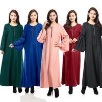 Spring Autumn Women Elegant Long Sleeve Embroidery A Line Lace Dress Abaya Burka Muslim Abaya Dress