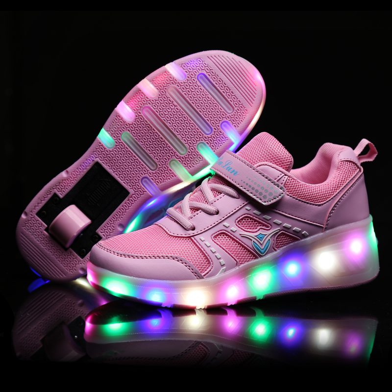 Children Glowing Sneakers Kids Roller Skate Shoes Children Led Light up Shoes Girls Boys Sneakers with Wheels tenis infantil|Sneakers| |  - title=