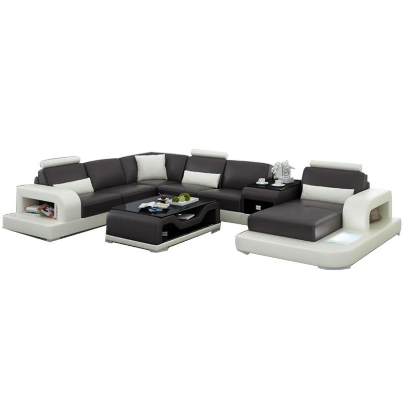 Black U-shape Living Room Furniture Sectional Sofa Set G8007 Fancy Colours Living Room Sofas
