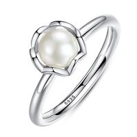 BK Original 925 Sterling SILVER RING WITH WHITE FRESHWATER CULTURED PEARL Authentic Cultured Elegance Pearl Jewelry