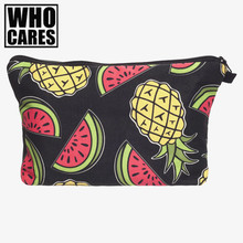 pineapples 3D Printing 2017 who cares women cosmetic bag new neceser travel bolsos mujer de marca