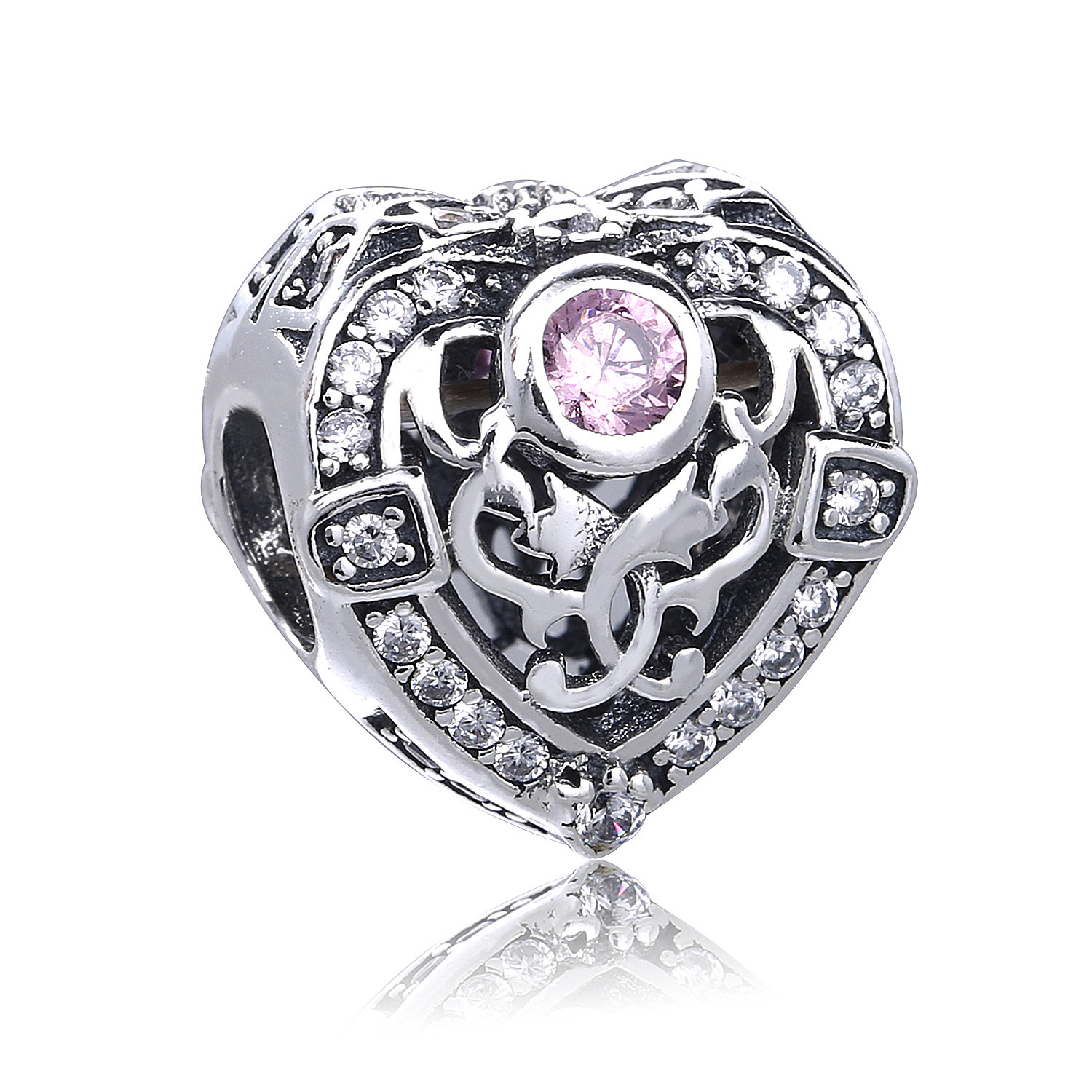2017 Winter DIY Fit Original Pandora Charms Bracelets Opulent Heart Orchid Charm With Clear Pink CZ 925 Sterlings Silver Beads