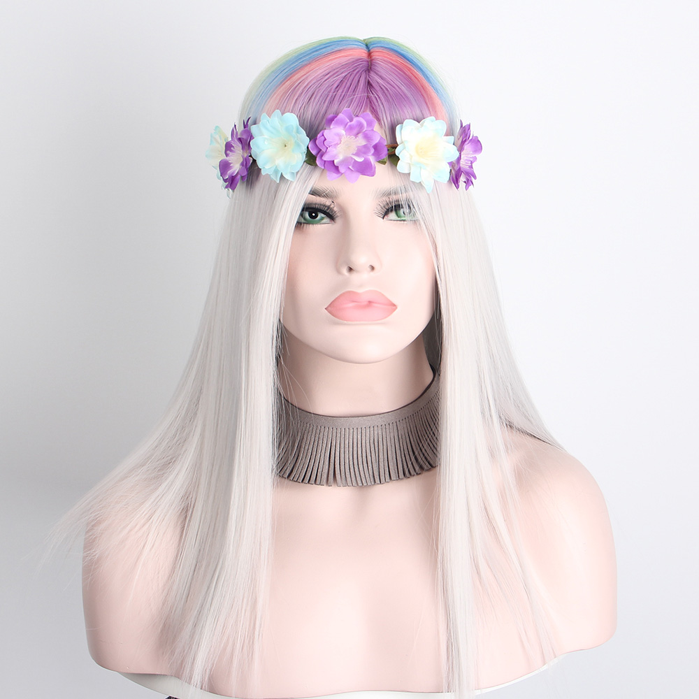 Anxin Halloween Costume Gray Wigs for Women Multicolor Long Curly Synthetic Wig Party Cosplay High Temperature Fiber Hair