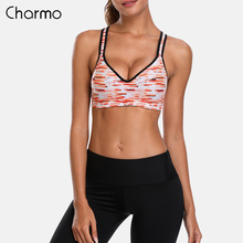 Charmo Women Sports Bra Medium Impact Striped Print Backcross Yoga Push up Running Workout Underwear Fitness Top
