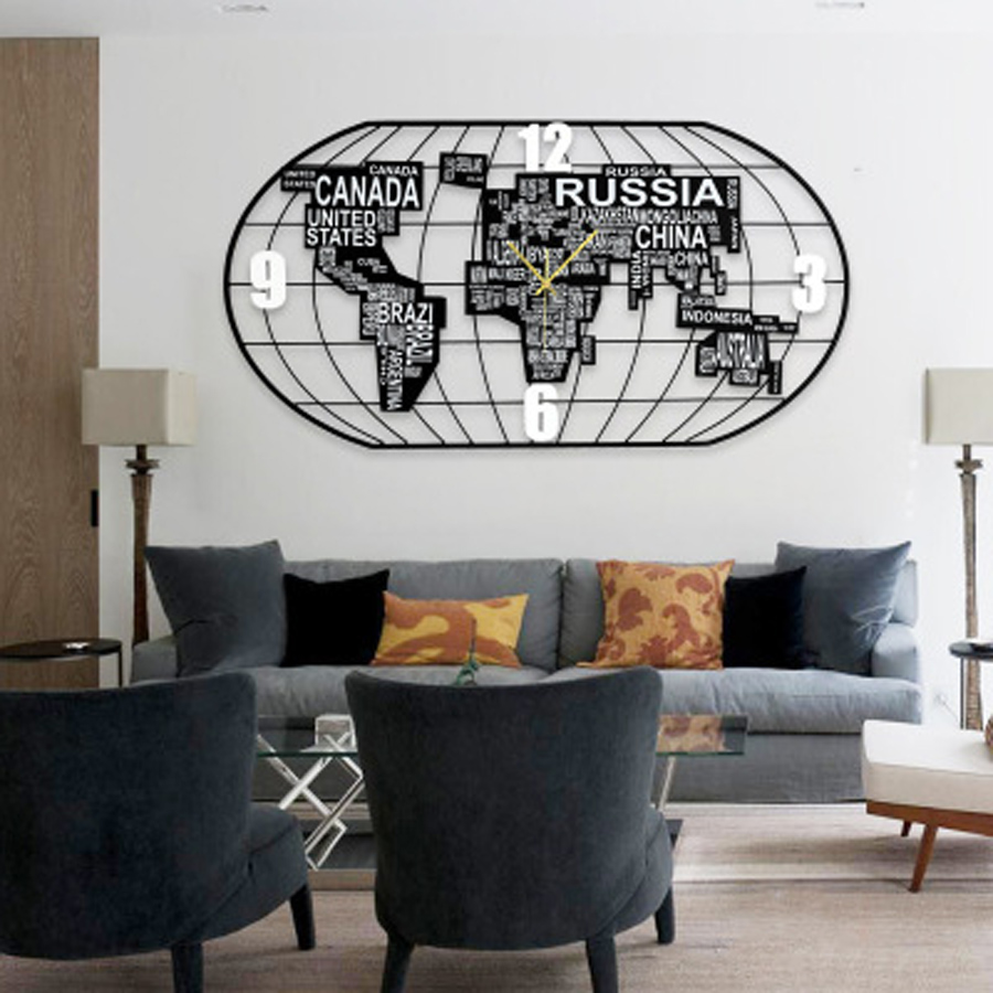 Creative World Map Clock Metal Large Wall Clock Modern Design 3d