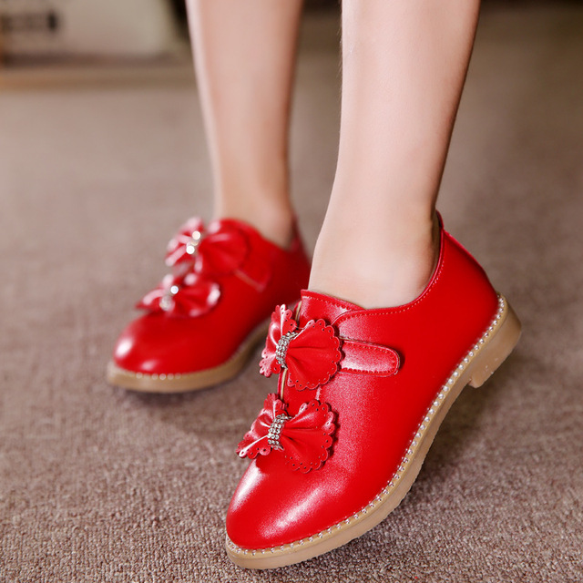 Spring Autumn Kids Fashion Princess Flat Shoes Girls Bow PU Leather Child Dance Shoes School Girl Shoes