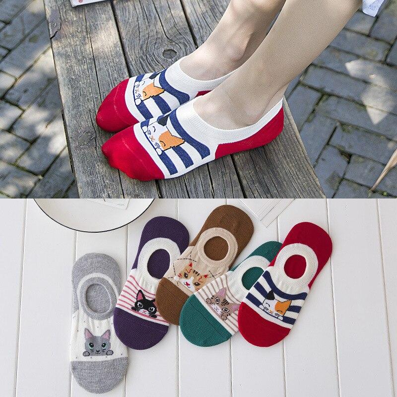 CAT Comfortable Summer Boat Socks Woman Cotton Cartoon Socks Invisible Girl Boy Slipper Casual Hosiery 1pcs=2pcs WS107