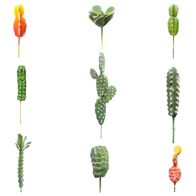 9Pcs/Lot Artificial Cactus Succulents Realistic Green Fake Desert Plants Foam Flower Branches Home Decoration Bonsai Centerpiece