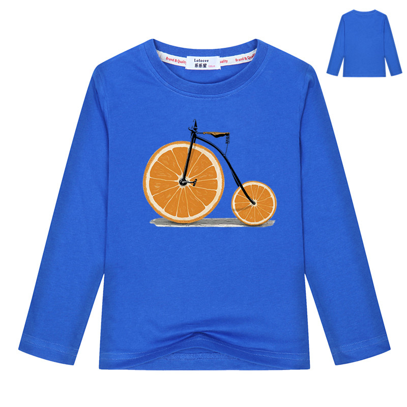 2018 New Funny Long Sleeve t shirt Girls' and Boy's Fruit Orange Bicycle Print Cute tee 100% Cotton lovely Kids Tops Party Shirt