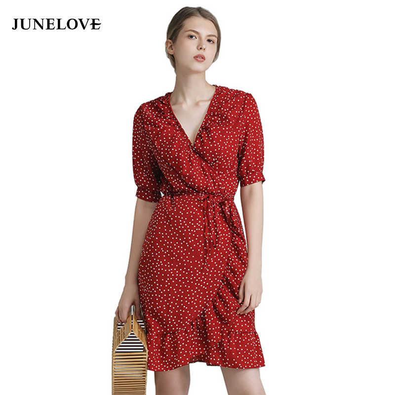 57288b3354d JuneLove 2019 летнее винтажное цельнокроеное платье в горошек с принтом
