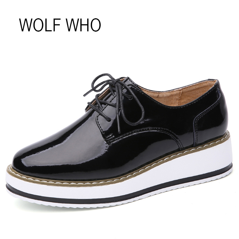 WOLF WHO 2018 Spring Women Oxfords Ladies Platform Shoes Female Patent Leather Footwear Tenis Feminino Casual Basket Femme h-249 wolf who genuine leather women shoes ladies spring krasovki slipony slip on loafers woman tenis feminino casual h 049