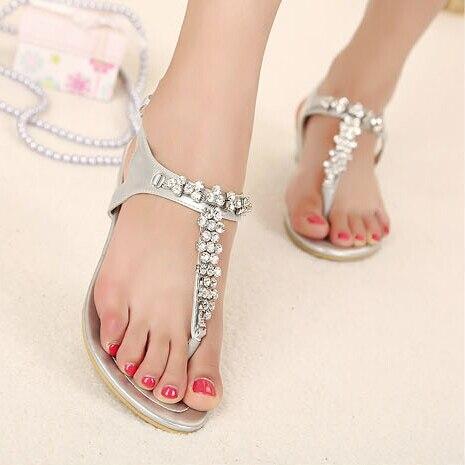 2015 Summer Gladiator T-strap Flat Sandals Rhinestone Women Sandals Roman  Thong Shoes Bridal Wedding Shoes Ladies Beach Silver