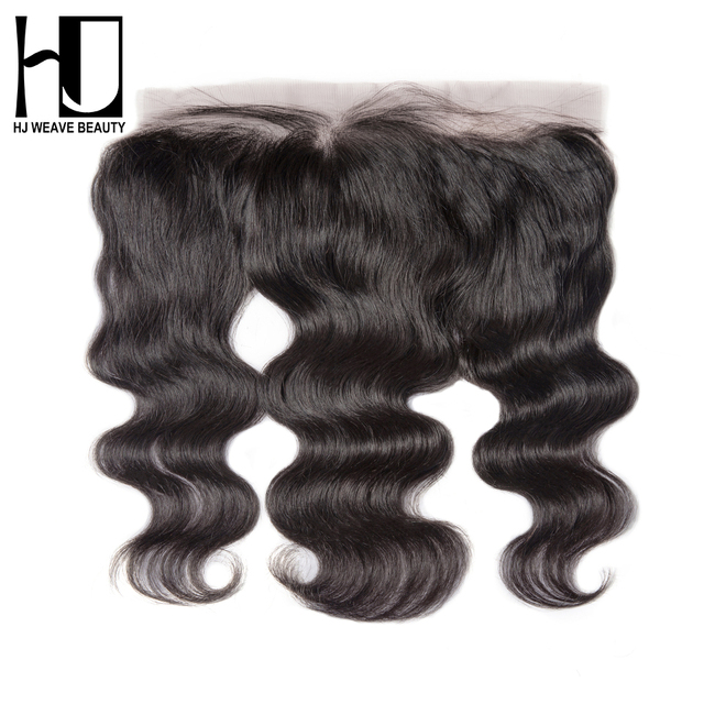 HJ WEAVE BEAUTY Lace Frontal Closure Brazilian Body Wave Remy Hair 13x4 Pre Plucked Hairline With Baby Hair HD Transparent Lace