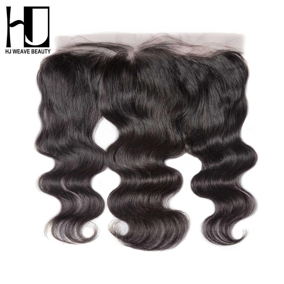 HJ tejido belleza encaje Frontal cierre brasileño onda del cuerpo Remy pelo 13x4 Pre desplumado línea de pelo con pelo de bebé HD transparente de encaje