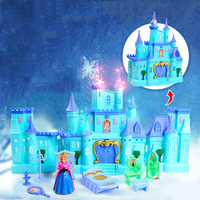 Snow Princess Froze Elsa Ice Castle 3D Cartoon Model Baby Puzzle Toy With Lights Music Electronics
