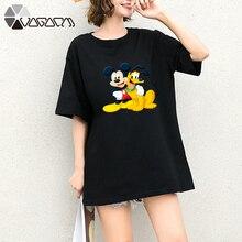 Summer Clothes Women Casual Goofy Mickey Mouse Cartoon Tops Tshirt Short Sleeve Tees Big Plus Size T Shirts