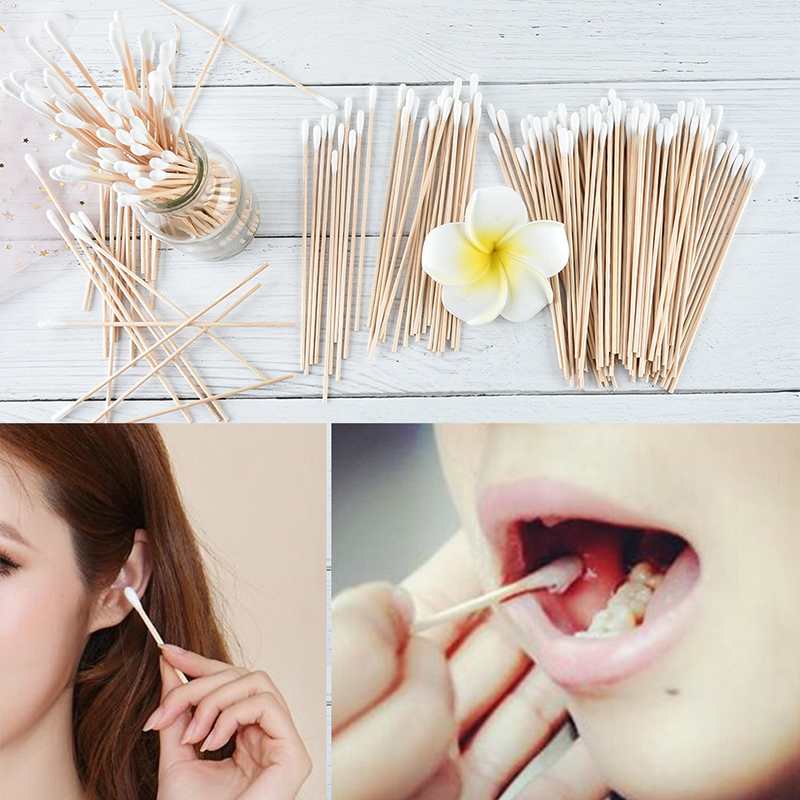 100Pieces Medical Swab Wood Handle Cotton Applicator Extra Long Sturdy Cotton Swab Make Up Tools 15CM