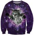 Alisister новая мода мужчины/женская cat толстовка зима/осень пространство galaxy толстовка одежда harajuku 3d cat толстовки свободный корабль