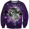 Alisister new fashion men/women's cat sweatshirt winter/autumn space galaxy sweatshirt clothes harajuku 3d cat hoodies free ship