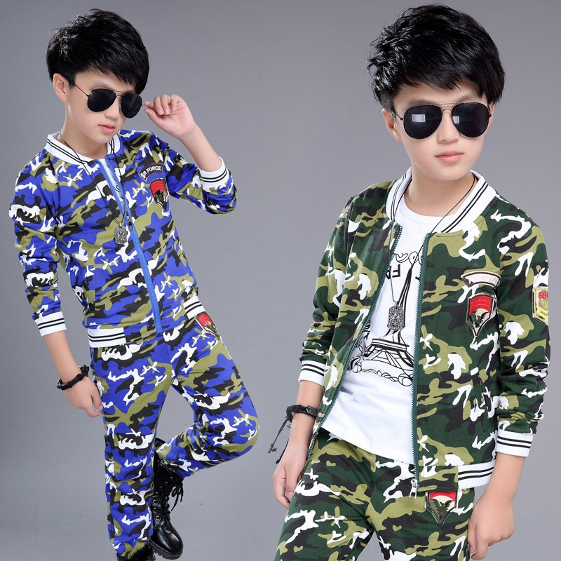 Children Clothing Sets For Boys Camouflage Sports Suits Autumn Kids Tracksuits 2017 Teenage Boys Sportswear boys camouflage sports suits 2017 new autumn cotton boys long sleeve sportswear 2 pcs set children clothing 3 5 7 9 11 14 y 6