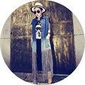 Con flecos largo párrafo chaleco chaleco de piel de la chaqueta de mezclilla de moda corto sin mangas capa del chaleco de mezclilla de las muchachas vintage cowboy clothing