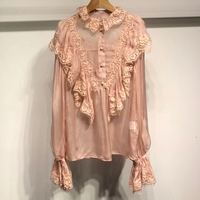 pink silk blouse for women summer 2018 long butterfly sleeve blouse fashion lace ruffles blouse