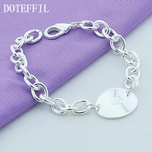 Hot Sale Famous Brand Bracelets 925 Silver Color Jewelry Women Fashion Charm Round 925 Silver Color Bangles Bracelet(China)