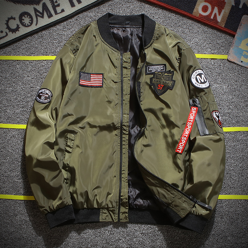 Army Green Pilot Jacket Men Fashion Embroidery Patch Designer Pilot Jacket Ribbon Zipper Pocket Baseball Uniform Men's Jacket