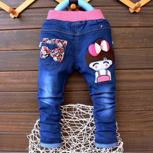 Elastic Waist Cartoon Printed Baby Denim Pants 2-4 Years