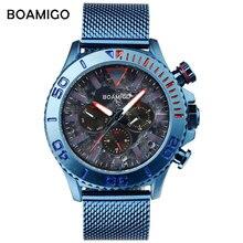ساعات رجالي العلامة التجارية الفاخرة BOAMIGO مقاوم للماء ساعة رياضية شبكة الفولاذ المقاوم للصدأ رجل ساعة كوارتز Relogio Masculino