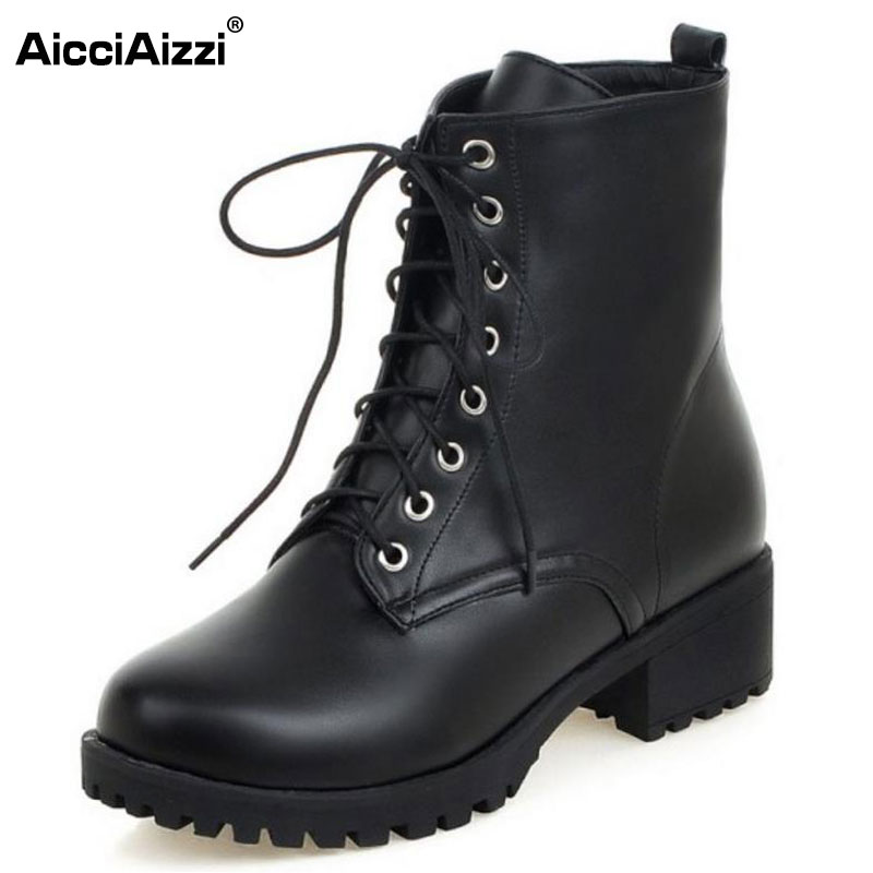 AicciAizzi Women Mid-Calf Boots Cross Strap With Fur Winter Botas Handmade Warm Boots Snow Shoes For Women Footwears Size 34-43 coolcept size 34 43 women half short thick bottom boots cross strap warm shoes cold winter boots mid calf botas women footwear
