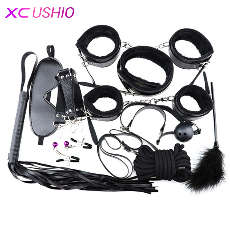 Sex Erotic Toys 10pcs/set Adult Games Sex Bondage Restraint Set Handcuffs Nipple Clamp Whip Collar Sex Toys for Couples недорго, оригинальная цена