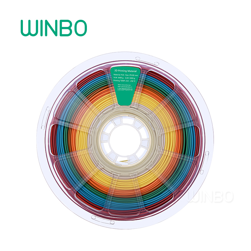 Multi color PLA filament 3.00mm 3KG Winbo 3D printing material Eco-friendly Food grade 3d printer plastic filament Free Shipping flsun 3d printer big pulley kossel 3d printer with one roll filament sd card fast shipping