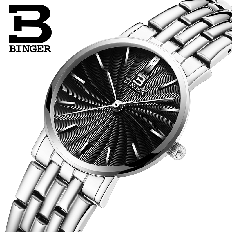 Switzerland BINGER women watches luxury brand quartz full Stainless steel ultrathin Wristwatches Waterproof B3051W-2 switzerland binger watches women fashion luxury 18k gold color watch quartz sapphire full stainless steel wristwatches b3035 2