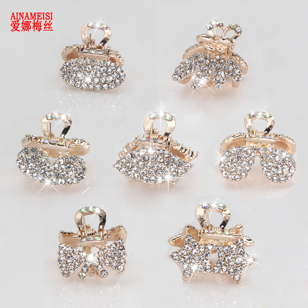 AINAMEISI New 7 Style Metal Crab Claw Clip For Women Girls Charm Barrette Full Rhinestone Wedding Hair Accessories Jewelry Gift