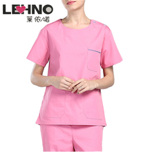 Uniforms Scrub-Sets Short-Sleeve Beauty Salon Breathable Cotton Women Pink LEHNO Long-Trousers