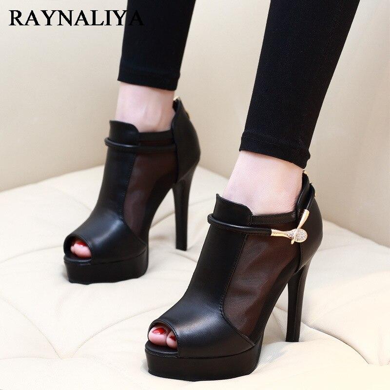 Женские туфли-лодочки на высоком тонком каблуке сандалии на платформе черная обувь кружева лоскутное открытый носок Летние ботильоны обув...