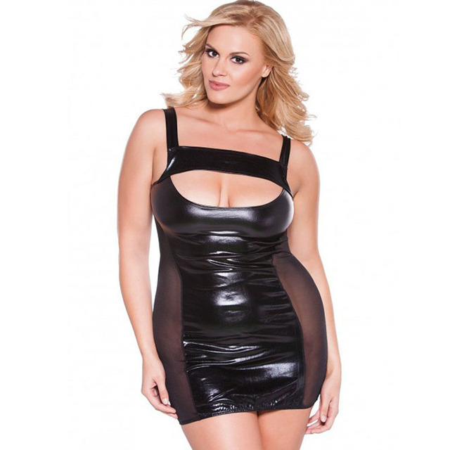 91439f8418c Wonder beauty Plus Size XXL 4XL 6XL Women Faux Leather Dress Transparent  Mesh Spliced Spaghetti Strap Vinyl Night Clubwear Dress