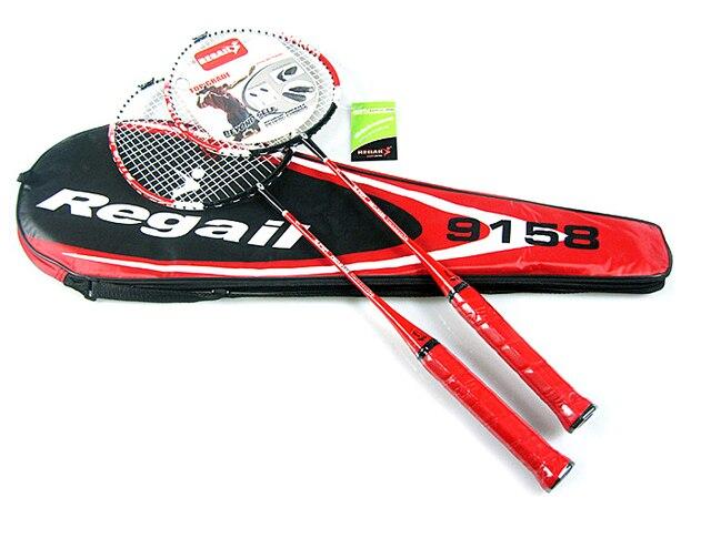 1 Pair Regail 9158 Durable Speed Badminton Racket Battledore Racquet + Carry Bag for Couples Red