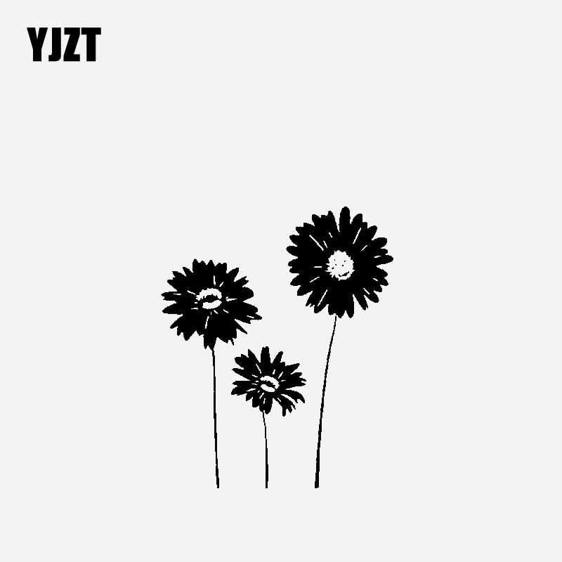 YJZT 14CM*16.9CM Creative Design Car Sticker Vinyl Decal Sunflowers Revolving Around The Sun Black/Silver C23-0426