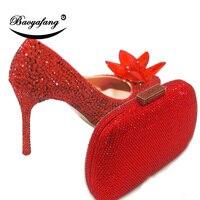 BaoYaFang/Новые свадебные туфли с острым носком и сочетающейся сумкой, свадебные туфли на высоком каблуке, женские туфли лодочки на тонком каблу