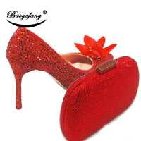 BaoYaFang New Pointed Toe Wedding shoes with matching bags Bride High shoes woman thin heel Pumps Red crystal flower shoe