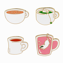 Rinhoo Tea Cup Enamel Pins Metal Colorful Cute Collar and Brooches for Women Vintage Brooch Jewelry Lapel Pin Badge