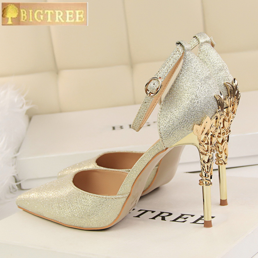 Novelty Carved Metal Platform Sandals Women 2018 New Silk Pointed Toe Women's Sandals Fashion Buckle Shallow High Heels Shoes