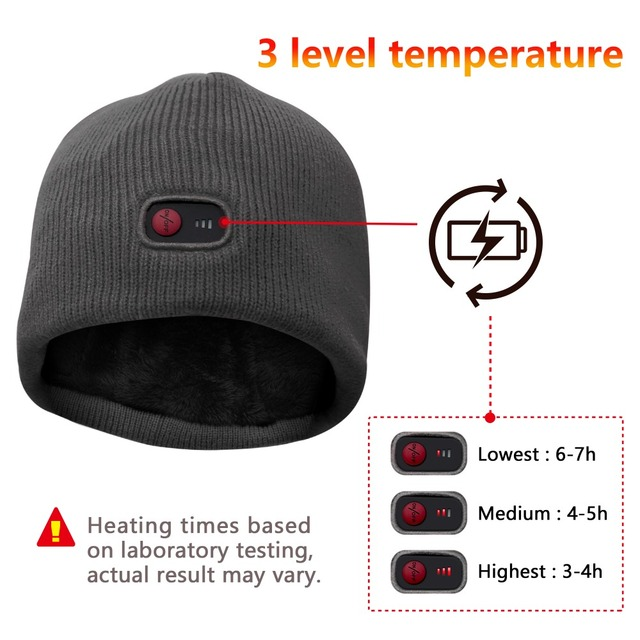 7.4V Winter heating hat ski riding climbing,hiking,hunting ice-fishing outdoor sports heating male and female universal hat 1