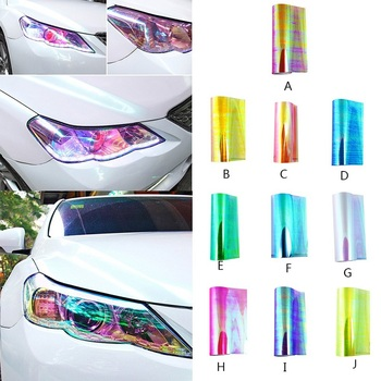 New 10 Colors Car Color-Changing Film 1PC Car Styling Chameleon Headlight Taillight Vinyl Tint Sticker Light Film Wrap 30X200CM car styling decoration 1pc 12x78 chameleon clear car headlight tail fog light vinyl tint film wrap uv protector