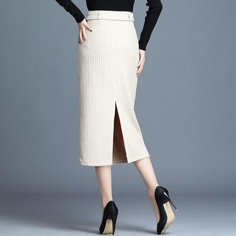 Automne hiver jupe haute qualité laine jupe mode chaud Long femmes jupes élastique avec ceinture travail bureau jupe crayon