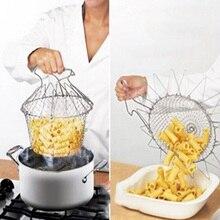 Fry Chef de Acero inoxidable Cestas Plegable Verduras Carne Canasta Freidora Francés Neta Tamiz Colador de Cocina Herramienta de Cocina