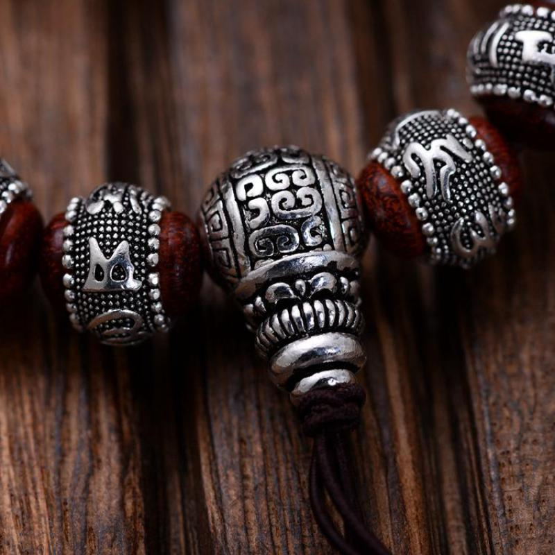 Natural Red Sandalwood Carving Six Words Mantra Beads Bracelets For Men And Women Real 990 Sterling Silver Pixiu Charm Bracelet